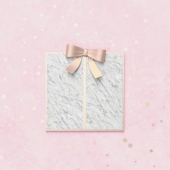Kreative weihnachtsgeschenkbox für produktanzeige mit marmorsteinbeschaffenheit. 3d weihnachten hintergrund. ansicht von oben. flach liegen.