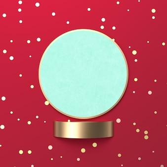 Kreative weihnachtsschneekugel für produktanzeige. 3d weihnachten hintergrund. ansicht von oben. flach liegen.