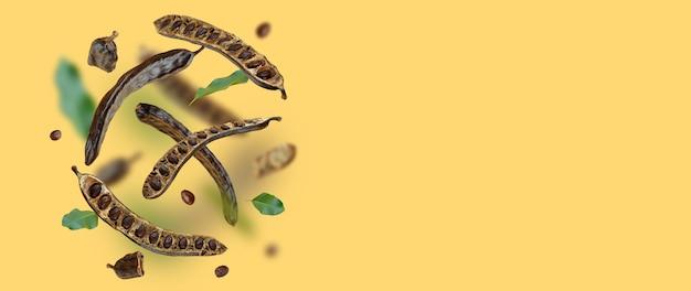 Kreative zusammensetzung schwimmende organische johannisbrotschoten samen blätter lebensmittel hintergrund natürliche vegane ernährung