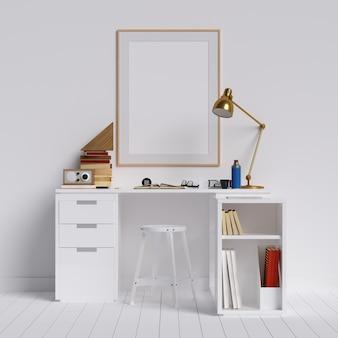 Kreativer arbeitsplatz dekstop im weißen innenraum mit plakatrahmen-modell