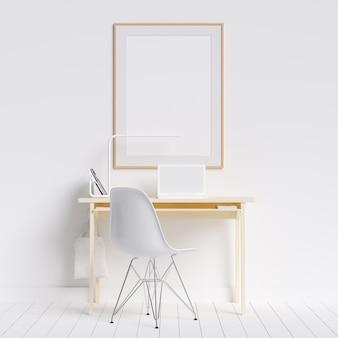 Kreativer arbeitsplatz dekstop mit poster frame mockup
