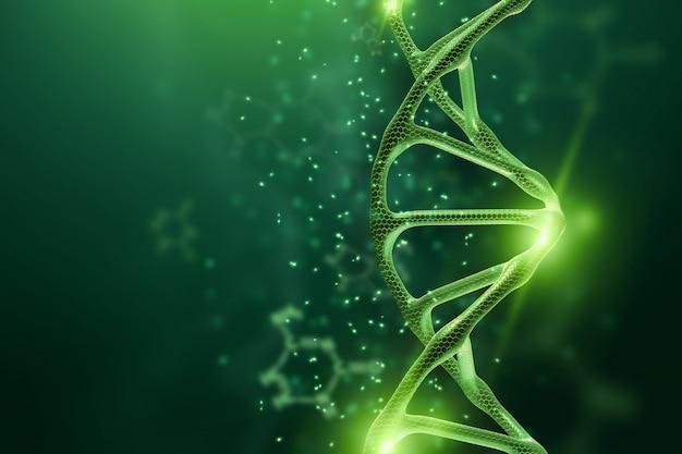 Kreativer, biologischer hintergrund, dna-struktur, dna-molekül auf einem grünen hintergrund