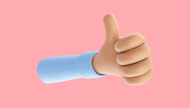 Kreativer daumen hoch, like it, love on social media. handbewegungen. 3d-darstellung