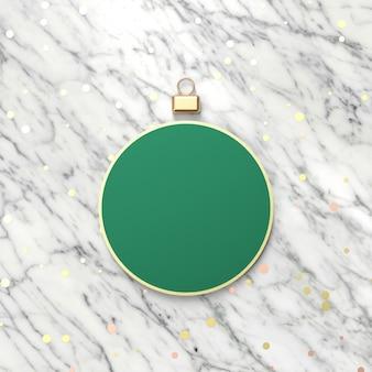 Kreativer grüner weihnachtsball für produktanzeige. 3d weihnachten hintergrund. ansicht von oben. flach liegen.