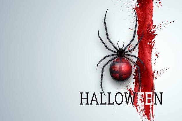 Kreativer halloween-hintergrund. bild einer spinne auf einem hellen hintergrund.