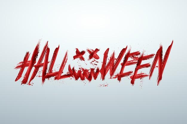 Kreativer halloween-hintergrund. inschrift halloween in rot auf hellem hintergrund.