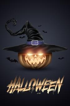 Kreativer halloween-hintergrund. inschrift halloween und der böse kürbis auf einem dunklen hintergrund.