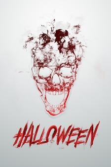 Kreativer halloween-hintergrund. inschrift halloween und schädel auf einem hellen hintergrund.