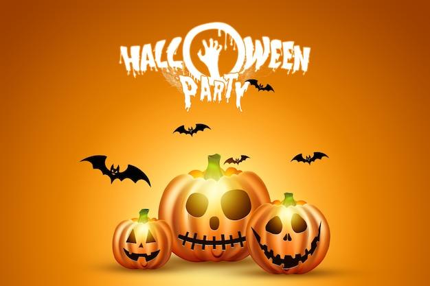 Kreativer halloween-hintergrund. kürbis auf einem orange hintergrund.