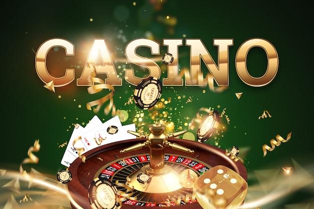 Kreativer hintergrund, aufschriftkasino, roulette, spielende würfel, karten, kasinochips auf einem grünen hintergrund