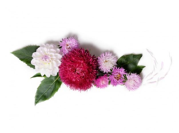 Kreativer hintergrund mit chrysanthemen- und dahlienblumen. blumenrand flach legen konzept