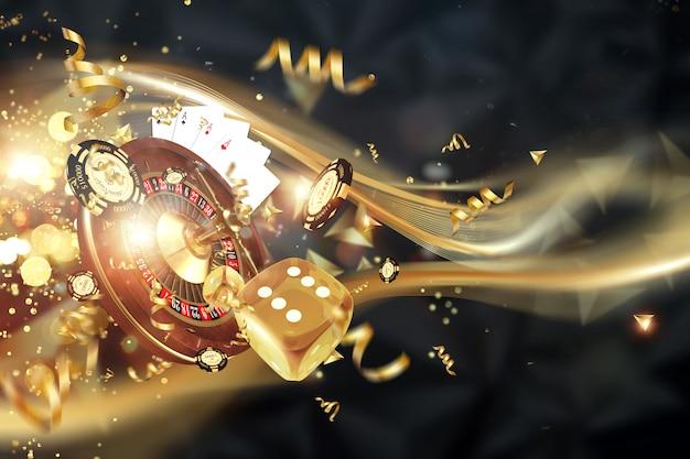 Kreativer hintergrund, roulette, spielwürfel, karten, kasinochips auf einem dunklen hintergrund