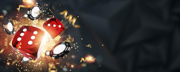 Kreativer hintergrund, spielwürfel, karten, kasinochips auf einem dunklen hintergrund