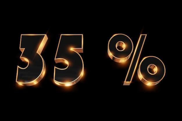 Kreativer hintergrund, winterschlussverkauf, 35 prozent, rabatt, zahlen des gold 3d.