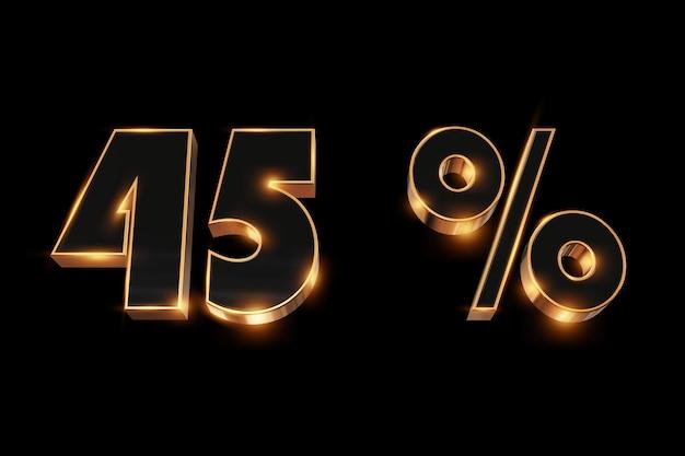 Kreativer hintergrund, winterschlussverkauf, 45 prozent, rabatt, zahlen des gold 3d.