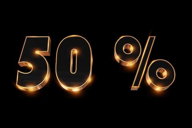 Kreativer hintergrund, winterschlussverkauf, 50 prozent, rabatt, zahlen des gold 3d.