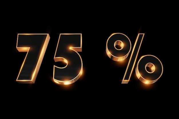 Kreativer hintergrund, winterschlussverkauf, 75 prozent, rabatt, zahlen des gold 3d.