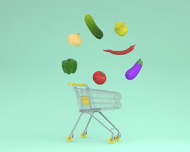 Kreativer ideenplan-einkaufswagen mit gemüse auf einem grüne farbhintergrund. minimal fo