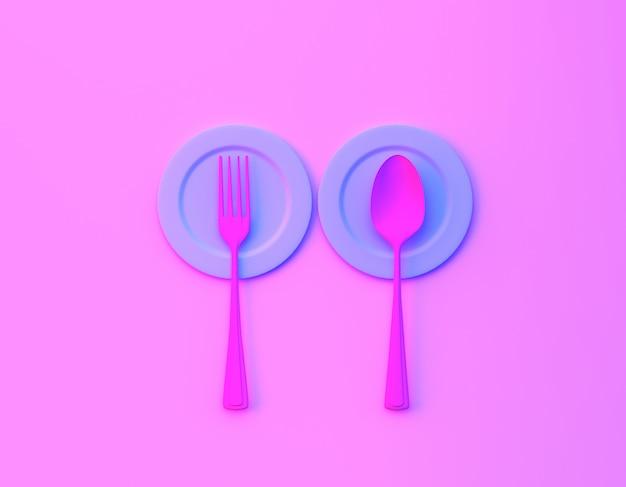 Kreativer ideenplan gemacht von den löffeln und von den gabeln mit teller im purpurroten und blauen ganz eigenhändig geschriebenen farbhintergrund der mutigen steigung bvibrant.