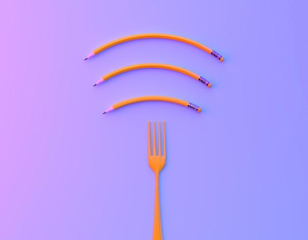 Kreativer ideenplan wifi-symbols gemacht von der gabel mit bleistift im purpurroten und blauen holographischen farbhintergrund der vibrierenden mutigen steigung.