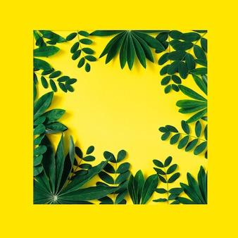 Kreativer naturrahmen gemacht von den tropischen blättern und von den blumen auf gelb