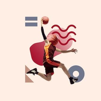 Kreativer sport und geometrischer stil fußballfußballspieler in aktionsbewegung auf blau
