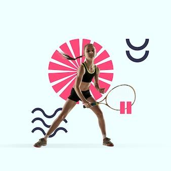 Kreativer sport und geometrischer stil. tennisspieler in aktion, bewegung auf blauem hintergrund. negatives leerzeichen, um ihren text oder ihre anzeige einzufügen. modernes design. zeitgenössische bunte und helle kunstcollage.