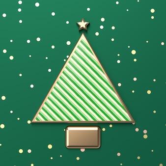 Kreativer weihnachtsbaum für produktanzeige mit grüner süßigkeitsbeschaffenheit. 3d weihnachten hintergrund. ansicht von oben. flach liegen.