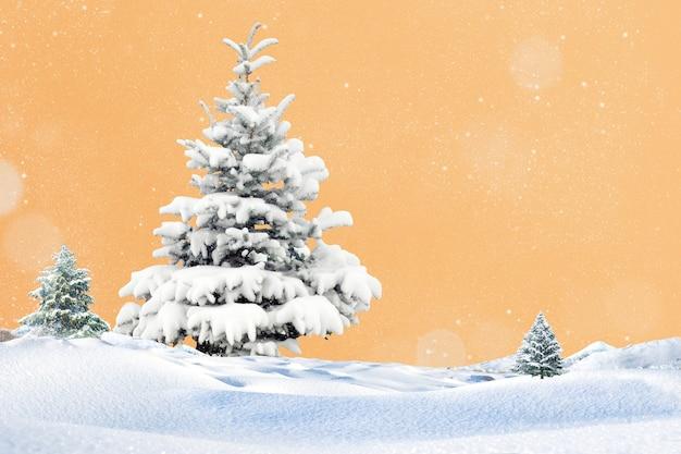 Kreativer weihnachtsbaum mit schnee weihnachtskonzept