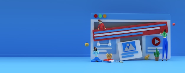 Kreatives 3d-render-design für webentwicklungsbanner, marketingmaterial, geschäftspräsentation, online-werbung.