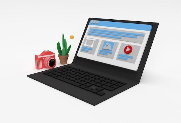 Kreatives 3d-render-mobilmodell mit laptop