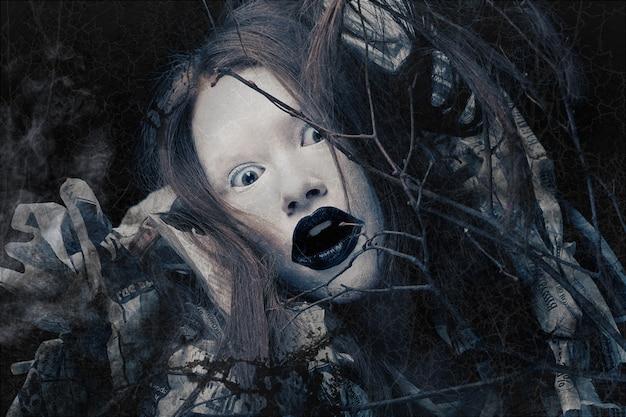 Kreatives antlitz, dunkle seite. halloweenkostüm
