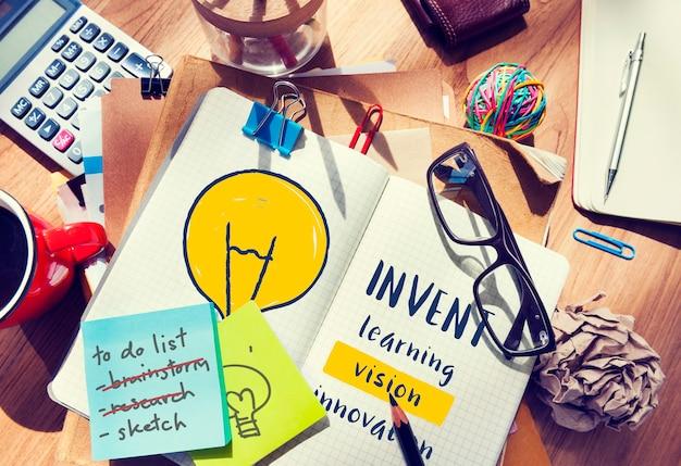 Kreatives denken erfindung inspirationskonzept