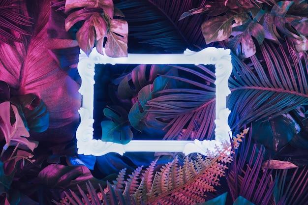 Kreatives fluoreszierendes farblayout aus tropischen blättern mit neonlichtem vintage-rahmen. naturkonzept.