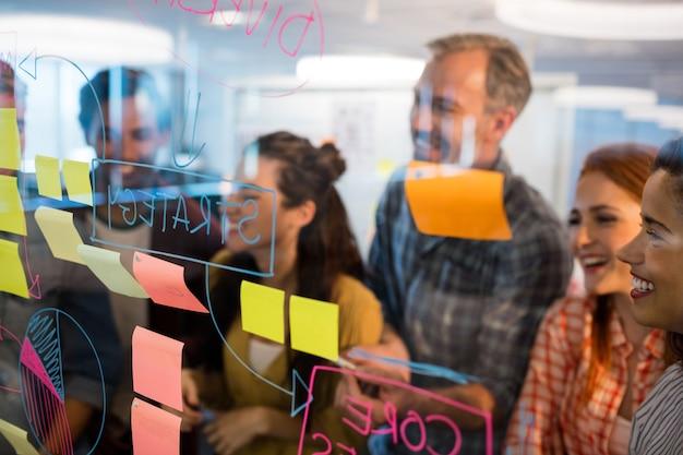 Kreatives geschäftsteam, das haftnotizen auf glasfenster im büro betrachtet