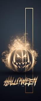 Kreatives halloween-banner. inschrift halloween und der böse kürbis auf einem dunklen hintergrund.