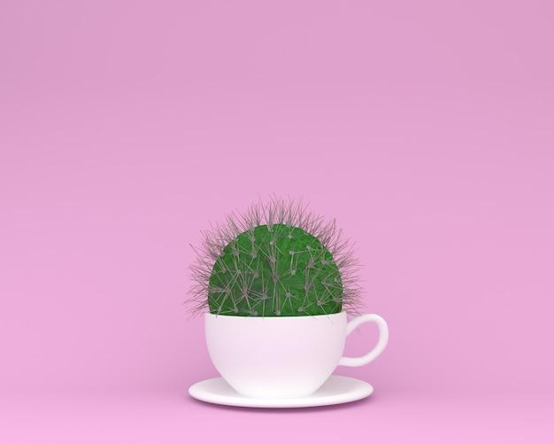 Kreatives hergestellt vom kaktus mit kaffeetasse