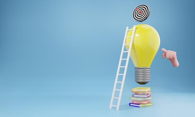 Kreatives ideen- und innovationskonzept, 3d-darstellung