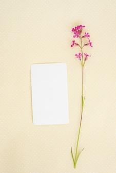 Kreatives layout aus blumen und blättern mit papierkartennotiz.