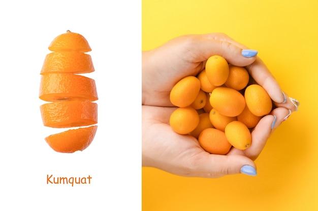 Kreatives layout aus kumquat in händen auf gelbem hintergrund