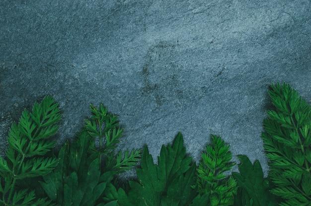 Kreatives layout aus waldgras auf schwarzem schiefer