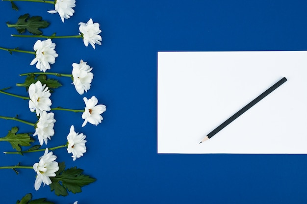 Kreatives layout eines blumenbildes. leere papiergrußkarte. platz für text