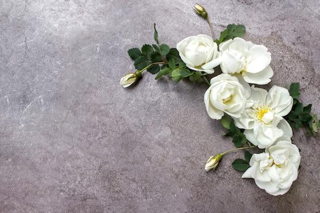 Kreatives layout von laub auf grauem hintergrund mit platz für text. weiße rosen. rahmen aus blättern