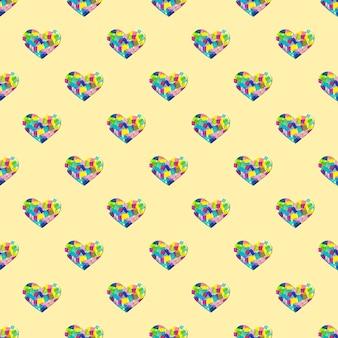 Kreatives muster mit scherenschnittherz und buntem patchwork