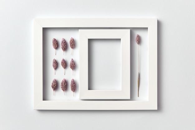 Kreatives muster von trocken bemalten kegeln und leerem kadaver in einem rechteckigen rahmen auf einer hellen wand, platz für text. flach liegen.