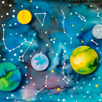 Kreatives papierplanetensortiment