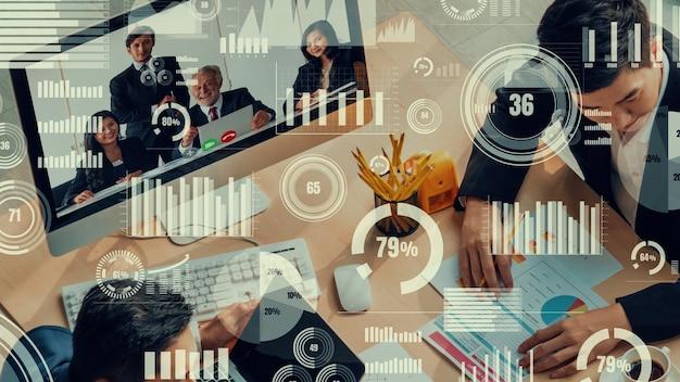 Kreatives visual von geschäftsleuten in einer firmenbesprechung per videoanruf