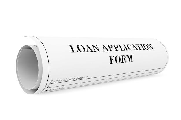 Kreditantragsformular auf weißem hintergrund