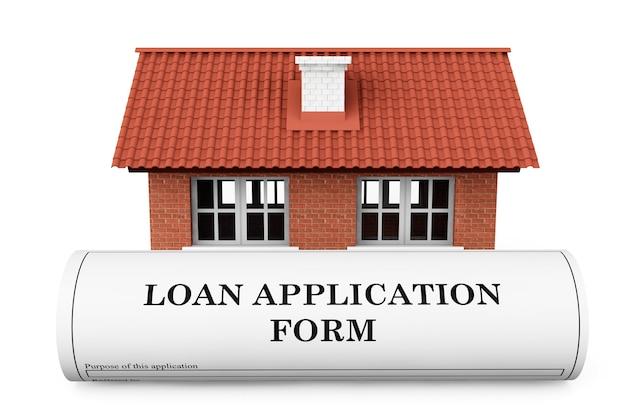 Kreditantragsformular mit haus auf weißem hintergrund