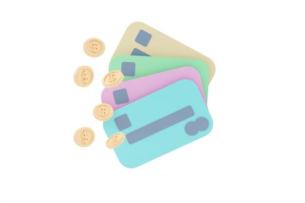 Kreditkarte, herumschwimmende münzen im weißen hintergrund. geldsparendes, bargeldloses gesellschaftskonzept. 3d-darstellung